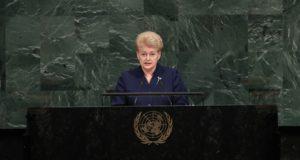 Lietuvos prezidentė ragina pasaulį stabdyti agresorius