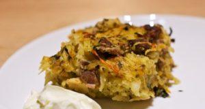 Bulvių apkepas su daržovėmis ir mėsa