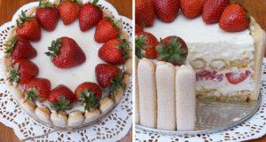 Braškių ir baltojo šokolado tortas
