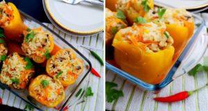 Daržovėmis ir ryžiais įdarytos paprikos
